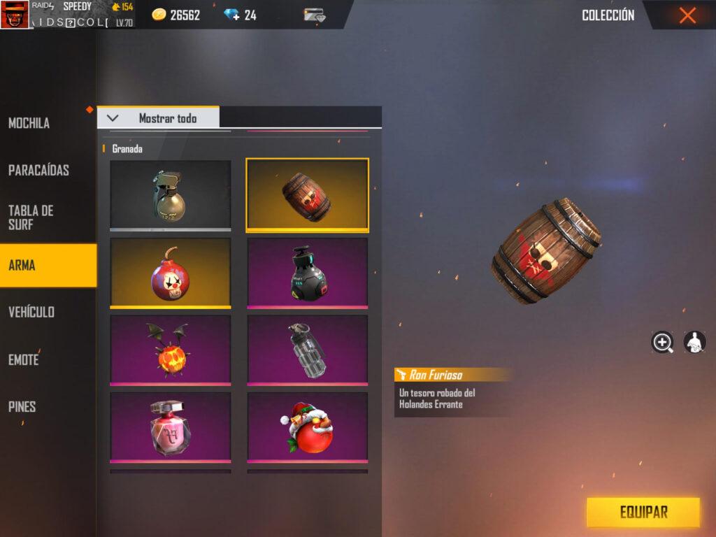 granadas de fragmentación de free fire