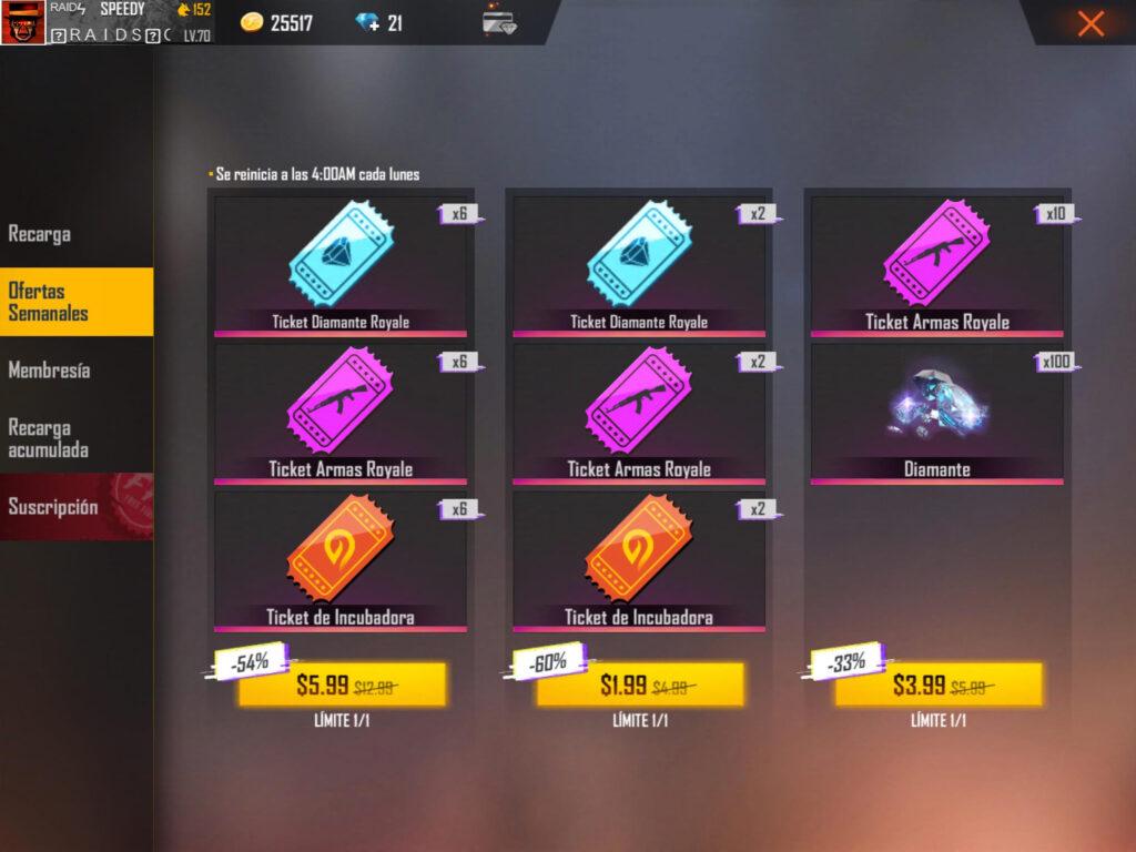 ofertas semanales en free fire