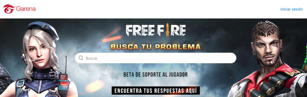 página de soporte de Garena Free Fire